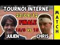 Christophe (15) vs Julien (15/5) - Finale Tournoi ASMC - 23/09/2012 - Highlights