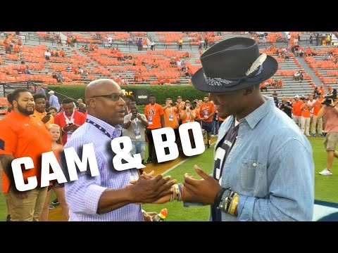 Cam Newton meets up with Bo Jackson while wearing No. 34 Auburn jersey