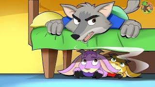 الذئب والخراف السبعة 🐐 (Wolf and Seven Little Goats) قصة كرتون اطفال | KONDOSAN |  HD 4K قصص اطفال