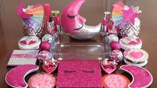 Speacial Galaxy PinkMixing Eyeshadow,Makeup and glitter Into Slime!Satisfying Slime Video!★ASMR★
