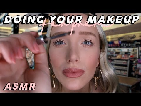 ASMR Doing Your Prom Makeup Whispered (Tapping, Mic Brushing, Latex Gloves, Lid Sounds...)