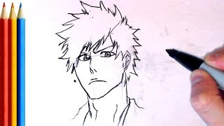 How to Draw Ichigo face (Bleach) - Step by Step Tutorial