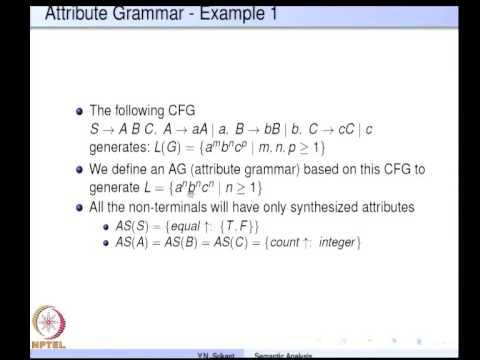 Mod-04 Lec-12 Semantic Analysis with Attribute Grammars Part 1