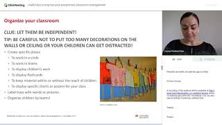 Useful tips to improve your pre primary classroom management Advancing Learning Webinar