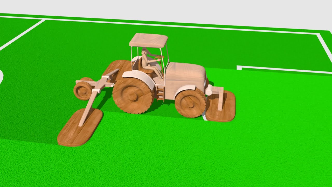 Tractor with lawn mover - Wooden Toys