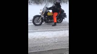 Motorcyclist in Snow - Crazy Canadian