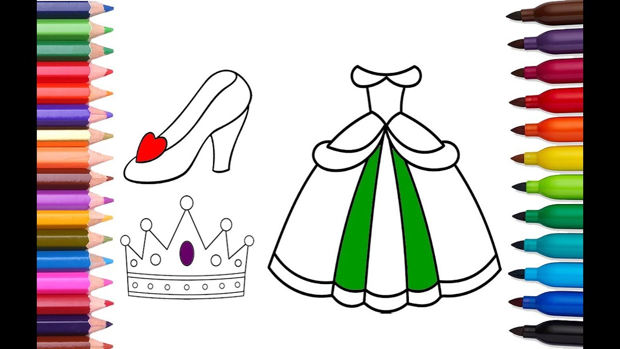 Coloring book princess crowns - How To Draw And Color Princess Dress Shoe Crown Coloring Book For Girls Dress And Accessories