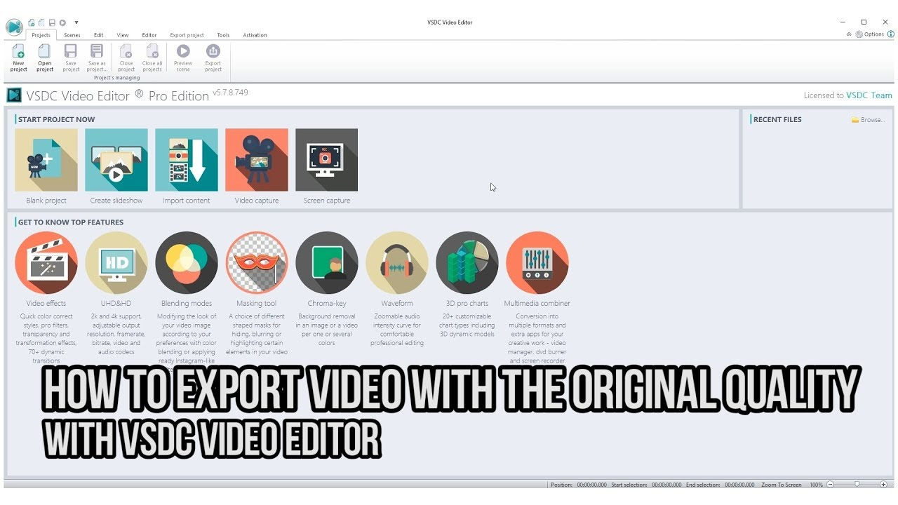 How to export video with the original quality with VSDC Video Editor
