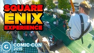 Check out the Square Enix Experience at Comic Con featuring a Just Cause Zipline Deus Ex NoPoz Hunt and a Hitman assassin training course