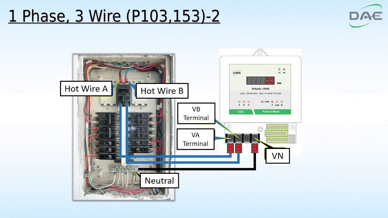 medium resolution of 1 phase 3 wire wiring connection for dae polaris electric meters p103 p153