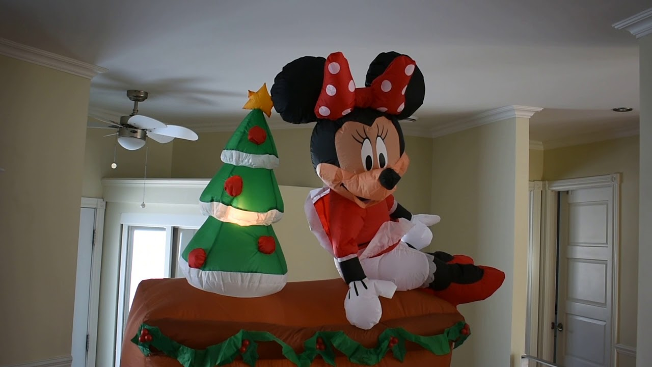 christmas inflatable mickey and minnie on a piano 7 feet tall
