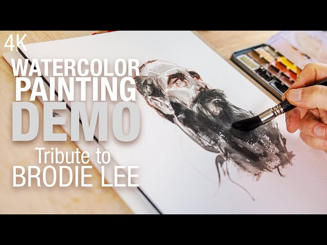 Watercolor portrait Tribute to Brodie Lee 4K