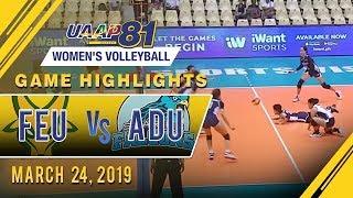 UAAP 81 WV: FEU vs. AdU   Game Highlights   March 24, 2019