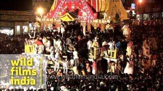 Chariots of three deities during Jagannath Rath Yatra - Puri
