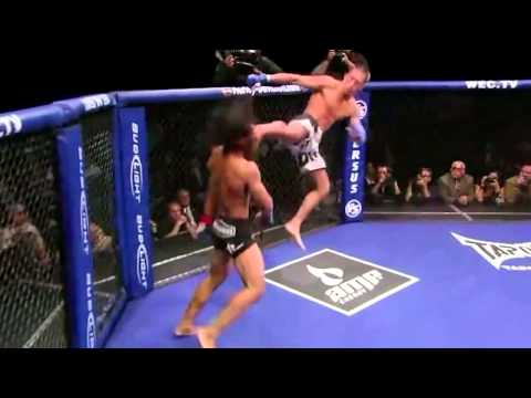 Anthony Pettis Flying Kick Off Of The Cage!