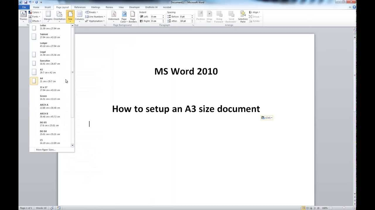 Ms word 2010 a3 size document setup youtube pronofoot35fo Choice Image