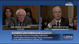 Bernie Sanders GRILLS Tom Price at Senate Confirmation Hearing For HHS 1/18/17