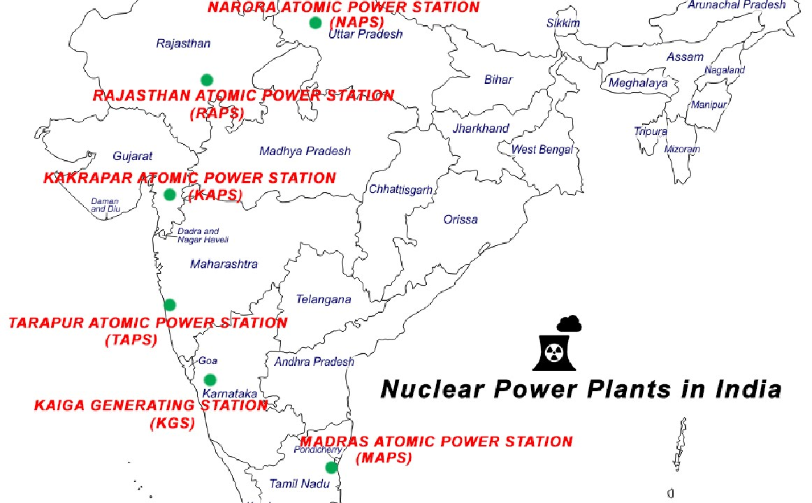 hight resolution of where are the nuclear power plants in india