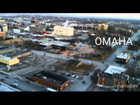 View of the city of omaha buildings from a quadcop