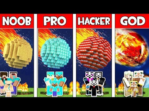Minecraft NOOB vs PRO vs HACKER vs GOD : FAMILY METEOR in Minecraft! Animation