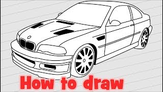How to draw a car BMW M3 GTR E46 2001