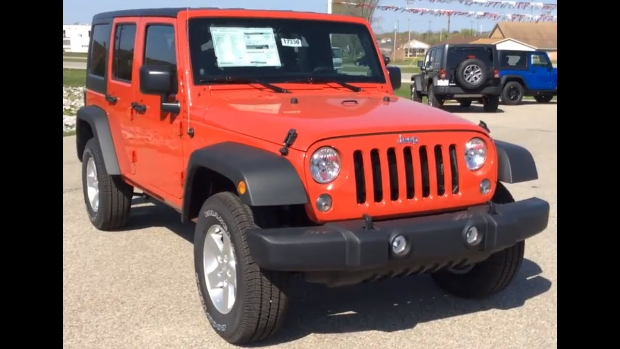 2014 Jeep Wrangler Unlimited 4wd 4dr Sport Red Four Door Jeep
