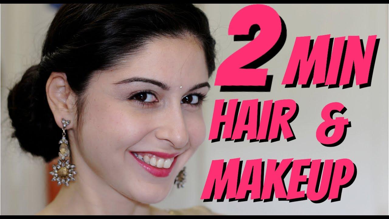 2 Minute Makeup & Hair || Indian Wedding!!! - YouTube