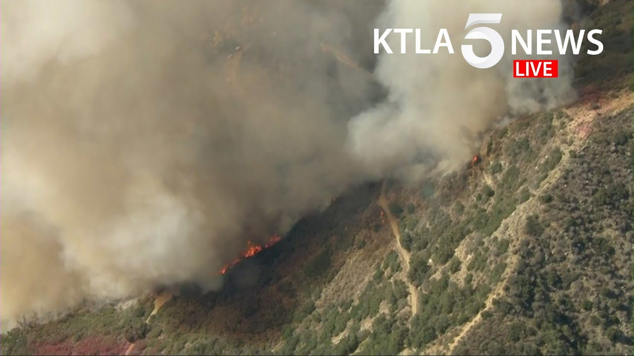 Crews battle brush fire burning in Mount Baldy area of Los Angeles
