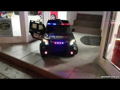 Детский джип M 3259 EBLR-1-2 электромобиль, Police, черно-белый - дисней.com.ua