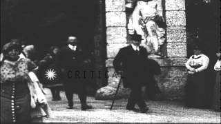 Archduke Franz Ferdinand of Austria and Sophie,Duchess of Hohenberg,  on an outin...HD Stock Footage
