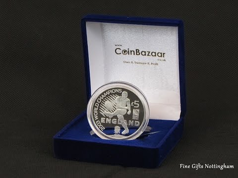 England Rugby World Cup Champions Silver Proof £5 Pounds Coin – New Zealand Post