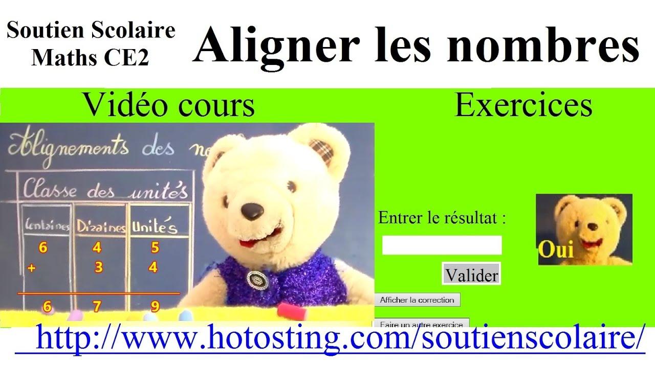 Maths Ce1 Ce2 Clis Aligner Les Nombres Exercices Sur Site Youtube