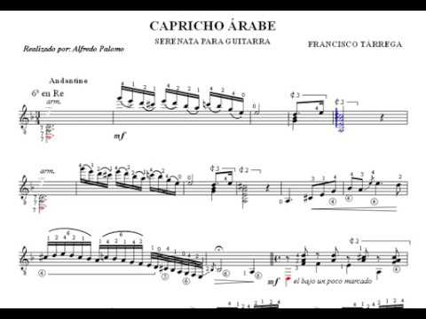 Partitura capricho rabe para guitarra cl sica de for Partituras de guitarra clasica