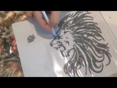 Аппликация своими руками, Лев из страз. Applique with their hands, the Lion of the crystals.