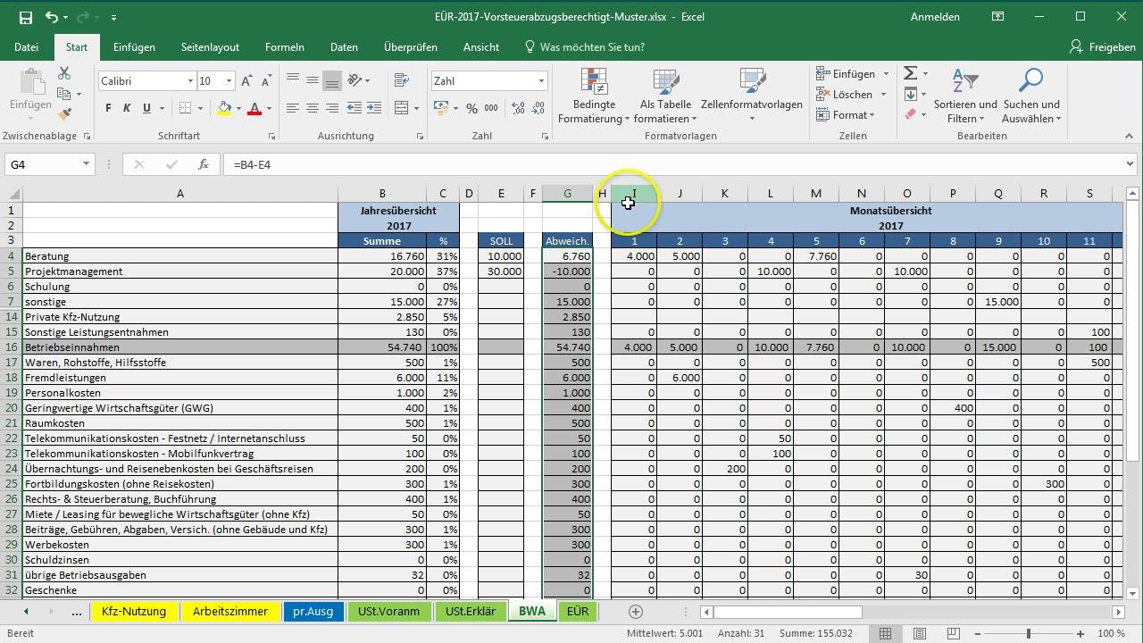 Excel-Vorlage-EÜR: SOLL-IST-Vergleich einfügen - YouTube