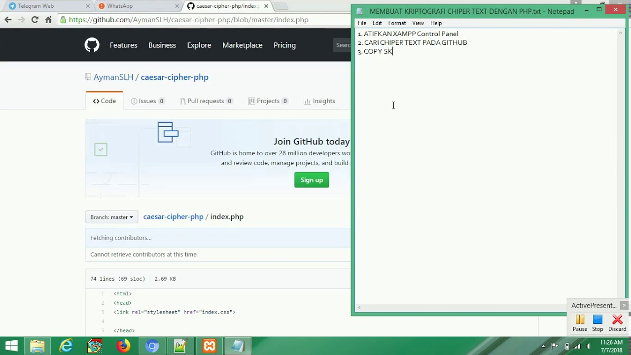 MEMBUAT KRIPTOGRAFI CHIPER TEXT DENGAN PHP SOURCE GITHUB - YouTube