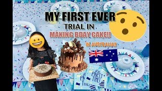 MY FIRST EVER TRIAL on MAKING CHOCOLATE BIRTHDAY CAKE// in STRAYA!