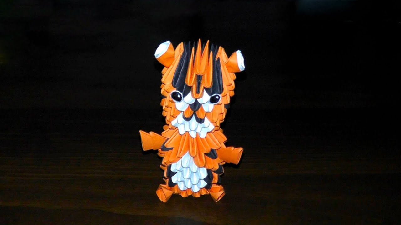 3D Origami Tiger Baby Assembly Diagram Tutorial Instructions