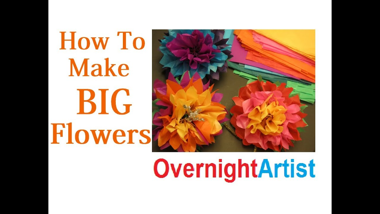 How to make large flowers tissue paper flowers youtube mightylinksfo