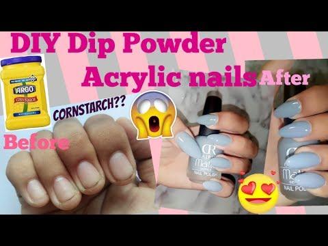 Diy dip powder acrylic nails at home using cornstarch easy diy dip powder acrylic nails at home using cornstarch easy quick cheap solutioingenieria Gallery