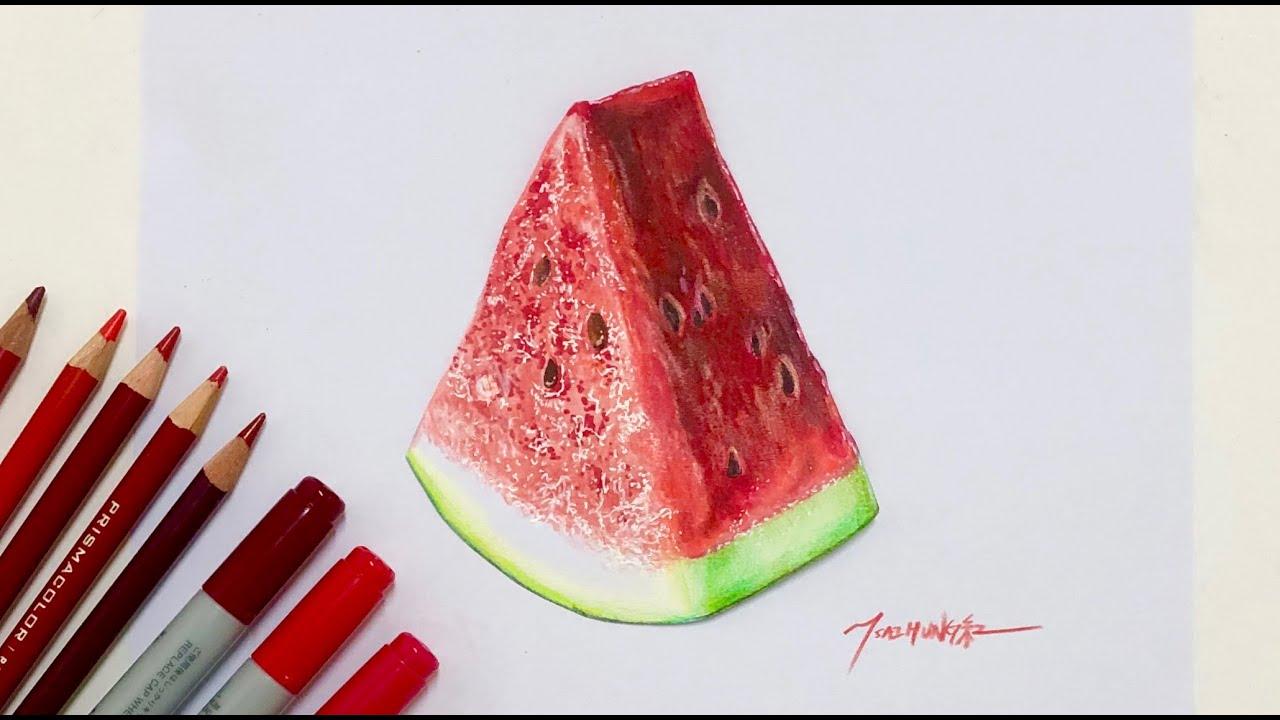 彩紅愛畫畫 麥克筆色鉛筆 - 西瓜 How to draw a realistic watermelon with copic markers