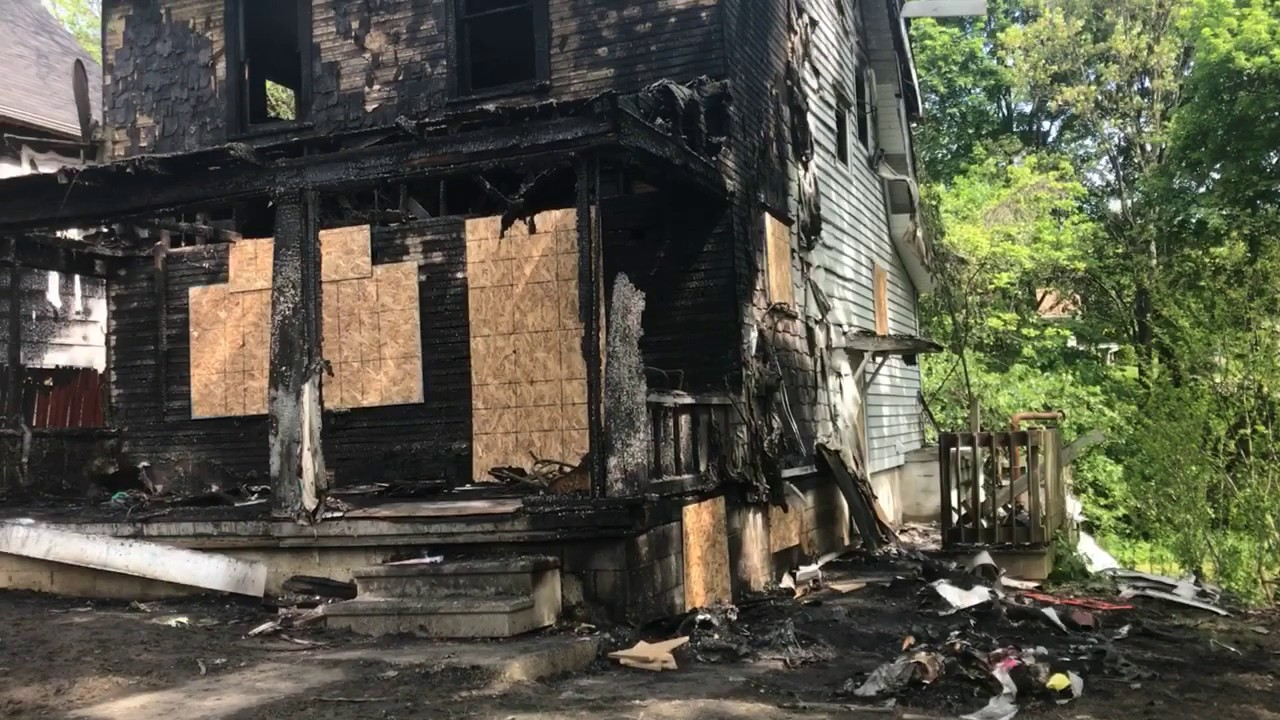 Aftermath of fatal Akron house fire