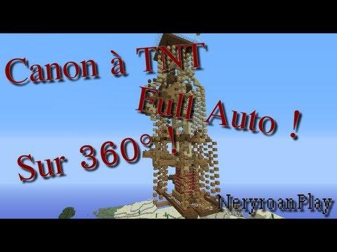 redstone canon tnt 100 auto sur 360 avec des tires de 16 tnt youtube. Black Bedroom Furniture Sets. Home Design Ideas