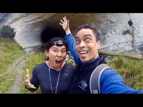 Dare we go into the DARK WET CAVE?   Cave Stream   Broken River   Castle Hill   South Island   NZ