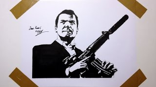 How To Draw Michael De Santa - Drawing Pop Fan Art GTA V AK - 47
