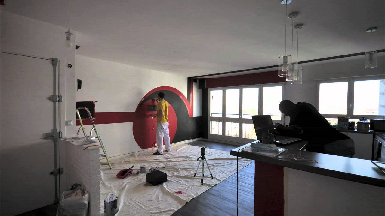 WALL DESIGN - Salon + cuisine américaine - YouTube