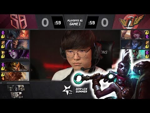Faker Plays Ekko - SB VS SKT Full Highlights - 2019 LCK Summer Playoffs Round 1