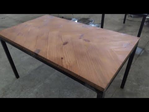 Tampo De Mesa Em Pinus Estilo Espinha De Peixe/ Herringbone Table