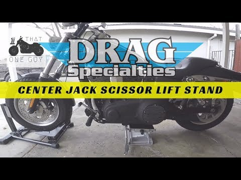 Drag Specialties Center Jack Scissor Lift Stand - unboxing and usage demo