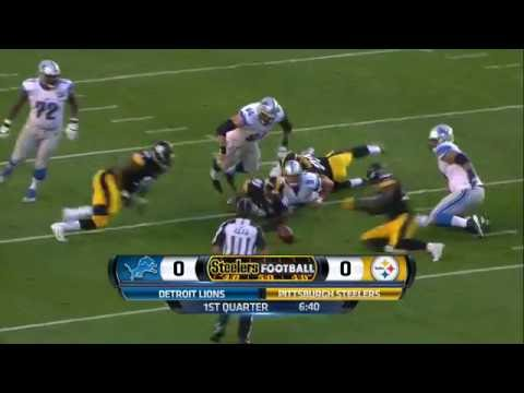 James Harrison Flies Around the Edge to Strip Sack Stafford | Lions vs. Steelers | NFL